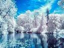 カラービーズ ストーン画 湖辺雪景色