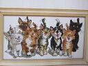 ししゅう糸 クロスステッチ刺繍キット かわいい8匹猫