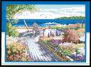 クロスステッチ 刺繍キット 布地に図柄印刷 花咲く海辺 クロスステッチキット クロスステッチ ししゅう糸 刺繍糸 刺繍…