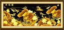 クロスステッチ 刺繍キット DMC糸 布地に図柄印刷 財運金色魚