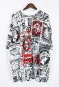 ケーティーゼット/KTZ 【15SS】総柄ビッグシルエットTシャツ(XS/ホワイト×ブラック×レッド)【99】【メンズ】【9150…