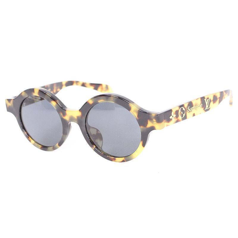 シュプリーム/SUPREME ×ルイヴィトン 【17AW】【LV Downtown sunglasses】×LOUIS VUITTONロゴモチーフサングラス((フレーム)ブラウン調(レンズ)クリアブラック)【01】【小物】【618071】【中古】SB01bb14#rinkan*A