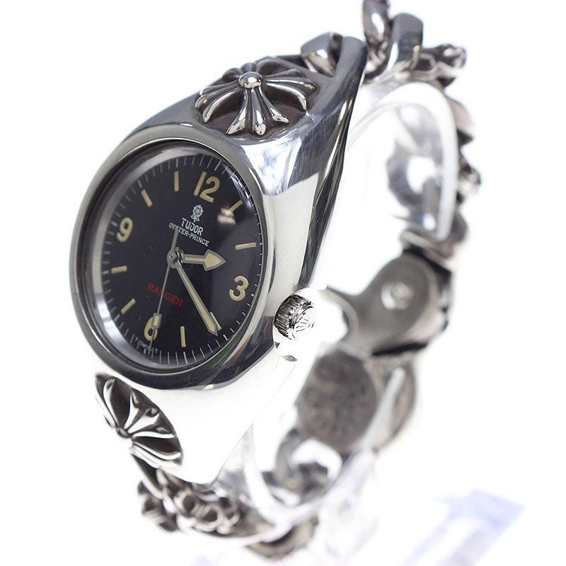 クロムハーツ/Chrome Hearts ×チュードル 【FANCY CHAIN WATCH CASE】【Ref.9050】RANGERウォッチブレスレット腕時計(シルバー×ブラック/157.8g)【SJ02】【小物】【211171】【中古】【P】bb10[MPD]#rinkan*B