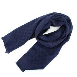 古馳/GUCCI GG花紋羊毛圍巾(深藍)bb35#rinkan*B