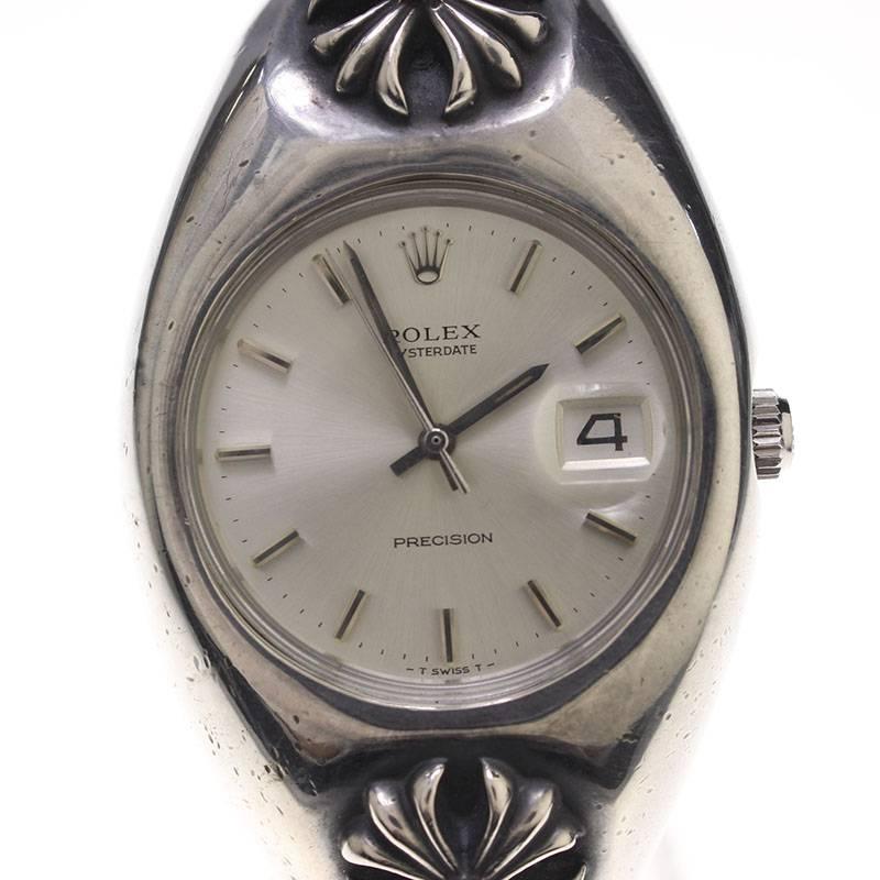 クロムハーツ/Chrome Hearts 【ref.6694 /オイスターデイト】CHプラスエクストラファンシーリンククリップブレス腕時計(シルバー/総重量183.61g)【SJ02】【小物】【100181】【中古】【P】bb51#rinkan*B