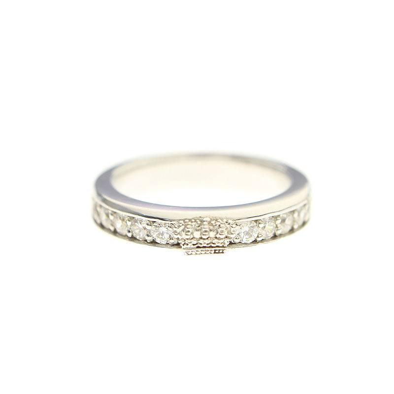 ジャスティンデイビス/JustinDavis 【Lovable Ring】【SRJ417】クラウンジルコニアリング(7号/シルバー×クリア/3.89g)【BS99】【小物】【220181】【中古】bb51#rinkan*B