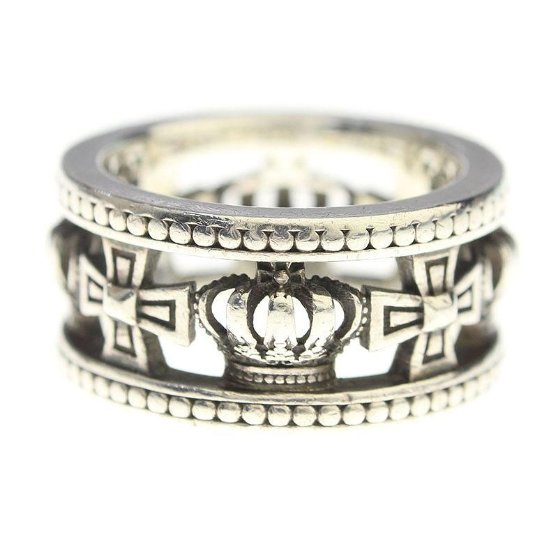 ジャスティンデイビス/JustinDavis 【Medieval Wedding Band Ring】【SRJ175】クロス・クラウンリング(14号/シルバー/9.94g)【BS99】【小物】【220181】【中古】bb51#rinkan*B