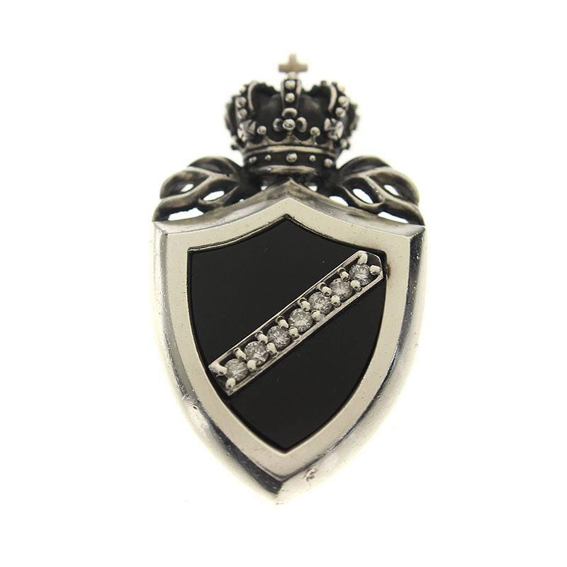 ジャスティンデイビス/JustinDavis 【Crown Shield】【SPJ117】クラウンシールドネックレストップ(シルバー×ブラック/7.21g)【BS99】【小物】【220181】【中古】bb51#rinkan*B