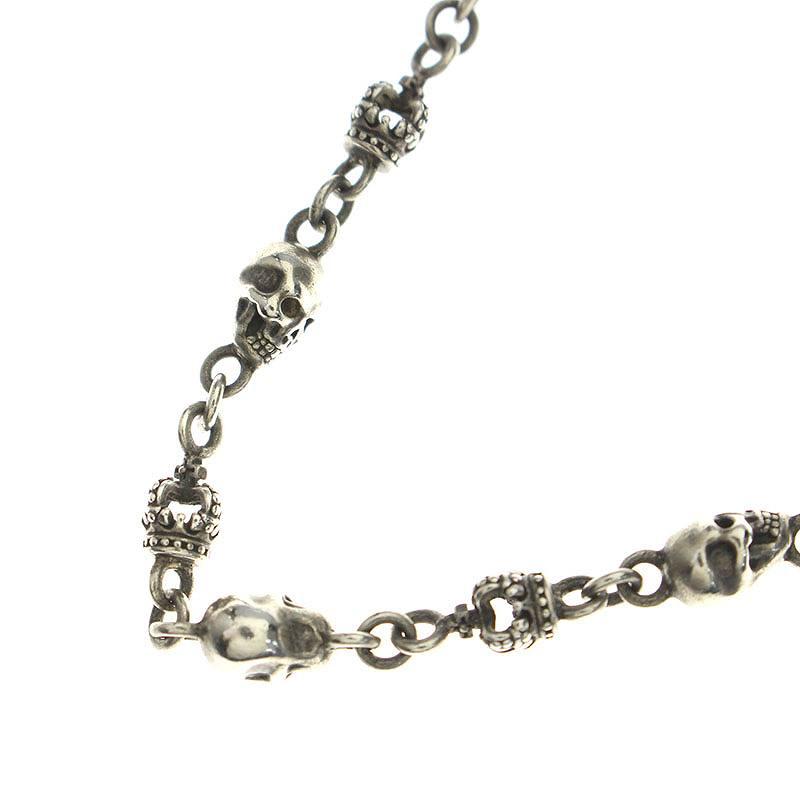 ジャスティンデイビス/JustinDavis 【SNJ126/Skull Divine Chain】スカルクラウンネックレス(50cm/シルバー/29.84g)【BS99】【小物】【220181】【中古】bb132#rinkan*B