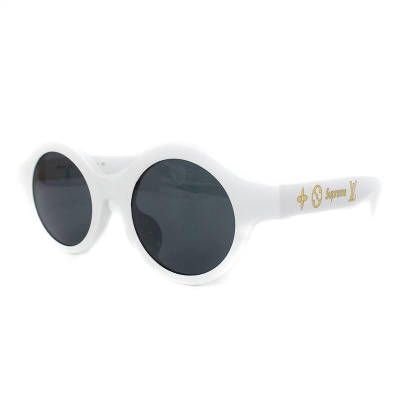 シュプリーム/SUPREME ×ルイヴィトン/LOUISVUITTON 【17AW】【LV Downtown sunglasses】×LOUIS VUITTONロゴモチーフサングラス(ホワイト)【SB01】【小物】【901181】【中古】bb205#rinkan*B