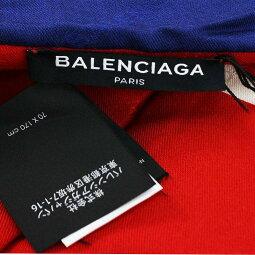 バレンシアガ/BALENCIAGA【17AW】【486424453B7】中綿入りキャンペーンロゴ大判マフラー(ブルー×レッド)【SB01】【小物】【121181】【中古】bb131#rinkan*A