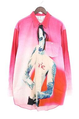 ヴェトモン/VETEMENTS【18AW】【MarilynMansonShirt】マリリンマンソンプリントオーバーサイズシャツ(S/ピンク×ホワイト)【NO05】【メンズ】【421181】【新古品】bb20#rinkan*N