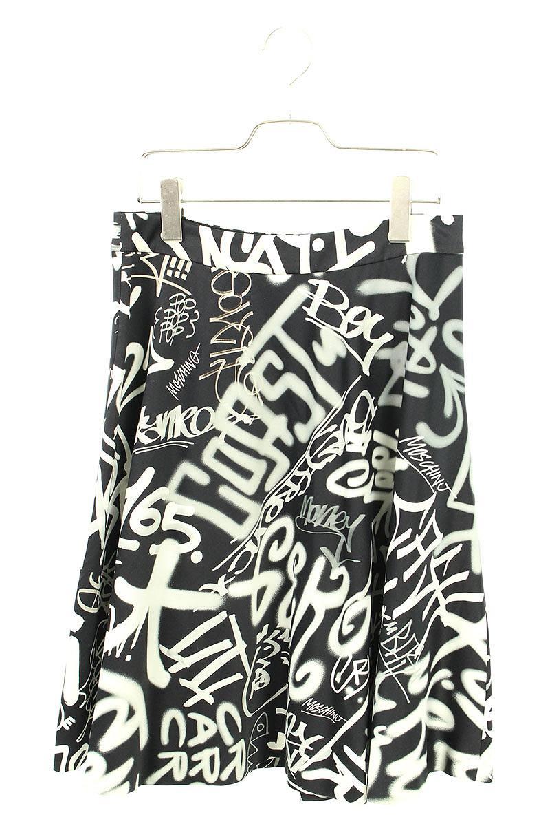 モスキーノ/MOSCHINO グラフィティプリントスカート(42/ブラック×ホワイト)【BS99】【レディース】【913091】【中古】bb30#rinkan*A