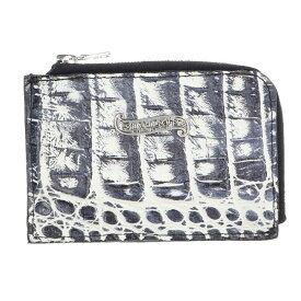 ビルウォールレザー/Bill Wall Leather 【COIN ZIP】アリゲーターレザーコインケース(ホワイト×ネイビー)【BS99】【小物】【818091】【中古】bb10#rinkan*B