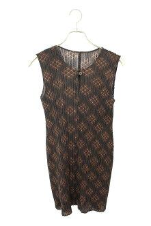 Pleats please /PLEATS PLEASE pleat processing whole pattern no sleeve dress (3/ black X brown) bb165#rinkan*B