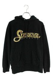 シュプリーム/SUPREME サイズ:M 【19AW】【Sequin Viper Hooded Sweatshirt】スパンコールロゴパーカー(ブラック)【BS55】【メンズ】【819002】【中古】bb131#rinkan*B