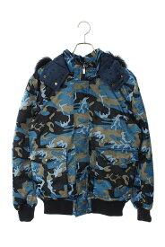 ルシアンペラフィネ/lucien pellat-finet サイズ:M フード付きカモ柄ダウンジャケット(ブルー調)【BS99】【メンズ】【910102】【中古】bb82#rinkan*B