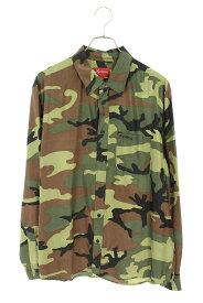シュプリーム/SUPREME サイズ:L 【19SS】【Silk Camo Shirt】シルク迷彩カモフラ長袖シャツ(オリーブ)【OM10】【メンズ】【301102】【中古】bb33#rinkan*B