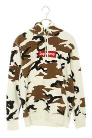 シュプリーム/SUPREME サイズ:L 【14AW】【Box Logo Hooded Sweatshirt】ボックスロゴカモフラ柄フーデッドスウェットパーカー(ホワイト×ブラウン)【SB01】【メンズ】【601012】【中古】bb154#rinkan*B
