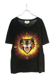 グッチ/GUCCI サイズ:L 【17AW】【442670 X5U16】ヴィンテージ加工アングリーキャットTシャツ(ブラック×レッド×オレンジ調)【OM10】【メンズ】【627012】【中古】bb317#rinkan*B