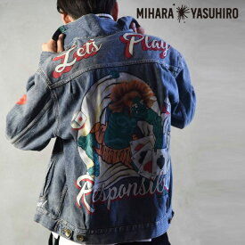 Maison MIHARA YASUHIRO メゾン ミハラヤスヒロ PAINTED W-NECK DENIM BLOUSON メンズ デニムジャケット 2nd 長袖 ペイント 46-48 M-L