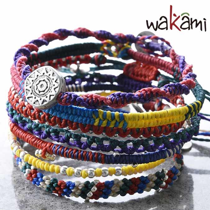 wakami ワカミ アクセサリー ユニセックス アースブレスレット 7ストランド wakami ブレスレット 7連ブレス コードブレス 日本限定モデル WA-BC17008