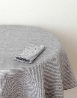 fog linen work Linen tablecloths L grey white stripe