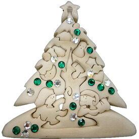 ラッピング無料 立体パズル 木製 ドルフィ DOLFI イタリア製 「クリスマスツリー スワロフスキー付」 無垢材 手作り おもちゃ 誕生日 プレゼント ギフト 男の子 女の子 車や動物や恐竜 かわいいデザイン 軽量で柔らかトゲが出ない西洋菩提樹 4才以上対象