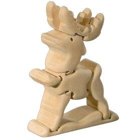 ラッピング無料 立体パズル 木製 ドルフィ DOLFI イタリア製 「トナカイ」 無垢材 手作り 木彫り おもちゃ クリスマス 誕生日 プレゼント ギフト 男の子 女の子 車や動物や恐竜 かわいいデザイン 軽量で柔らかトゲが出ない西洋菩提樹 4才以上対象