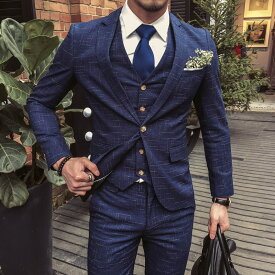 お洒落 イギリス風 メンズセットアップスーツ 3点セット 上下セット 紳士シングルスーツ 結婚式 チェック柄 高級品 1ボタン ビジネス 大きいサイズあり