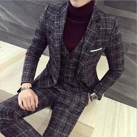 お洒落 セットアップ 紳士服 スーツ 結婚式 二次会 チェック メンズスーツセットアップ 3点セット ジャケット、ベスト、パンツ 【S〜5XL】大きいサイズあり