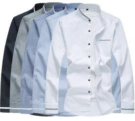 メンズ 無地シャツ お洒落 長袖 切り替え シャツ カジュアルシャツ 大きいサイズもあり【M〜7XL】tシャツ メンズ 長袖 春夏秋対応!5色展開