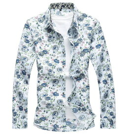 美品 メンズ 花柄 シャツ カジュアル ドレスシャツ 大きいサイズもあり メンズ 長袖 シャツ 綿 4色【M〜7XL】