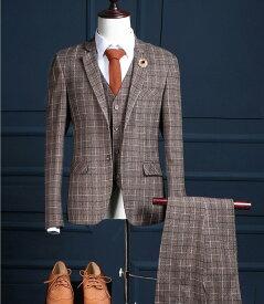 おしゃれ 人気品セットアップ 紳士服 スリムスーツ チェック柄 結婚式 二次会 入園式  メンズスーツセットアップ