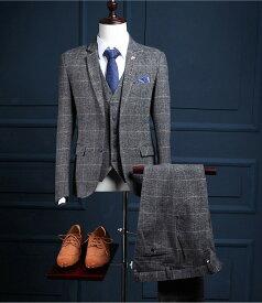イギリス風 セットアップ 紳士服 スリムスーツ チェック柄 結婚式 二次会 入園式 おしゃれ メンズスーツセットアップ