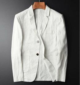 上質 麻100% メンズカジュアル テーラードジャケット ジャケット スーツ生地 アウター きれいめ着こなし リネン 無地 麻 シングル