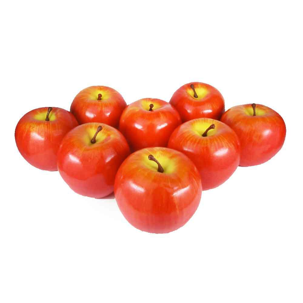 りんご 本物そっくりな模型 8個セット 食品サンプル 果物模型 (赤II軽量タイプ)