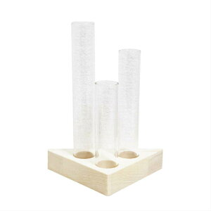 木製花瓶スタンド 水耕栽培花瓶 卓上花瓶 植物栽培ガラス 水栽培容器 ハイドロカルチャー 試験管型 一輪挿し fbgss-1