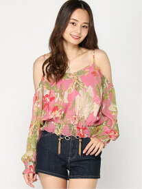 【SALE/77%OFF】(W)Sl Ashton Cold Shldr Top GUESS ゲス カットソー カットソーその他 ピンク ブルー【RBA_E】[Rakuten Fashion]