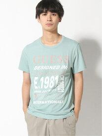 【SALE/50%OFF】(M)TEXT LOGO CREW-NECK TEE GUESS ゲス カットソー Tシャツ グリーン グレー【RBA_E】[Rakuten Fashion]
