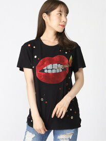 【SALE/60%OFF】(W)Ss Lit Lips Tee GUESS ゲス カットソー Tシャツ ブラック【RBA_E】[Rakuten Fashion]