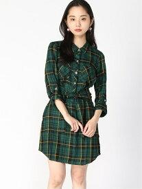 【SALE/50%OFF】(W)SHAREL PLAID DRESS GUESS ゲス ワンピース シャツワンピース グリーン レッド【RBA_E】[Rakuten Fashion]
