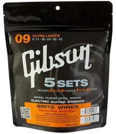 【純正品】【5セット】Gibson 009-042 Brite Wires Ultra Light SVP-700UL 5セットパック[ギブソン][エレキギター弦,string]