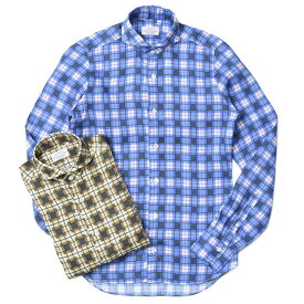 【40OFF】Mario Muscariello(マリオ ムスカリエッロ)リネン タータンチェック ワイドカラーシャツ LNN TARTAN CHK 302050 31041002085