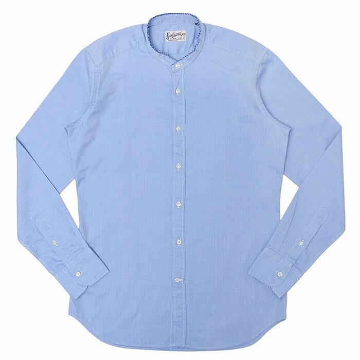 Bevilacqua(べヴィラクア)ウォッシュドコットンヘリンボーン カットオフスタンドカラーシャツ DYLAN