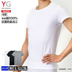 グンゼ クルーネックTシャツ メンズ 年間 綿100% コットン メンズ 男性用 紳士 半袖 丸首 抗菌 防臭 インナー 肌着 YV0013N M-3L GUNZE11