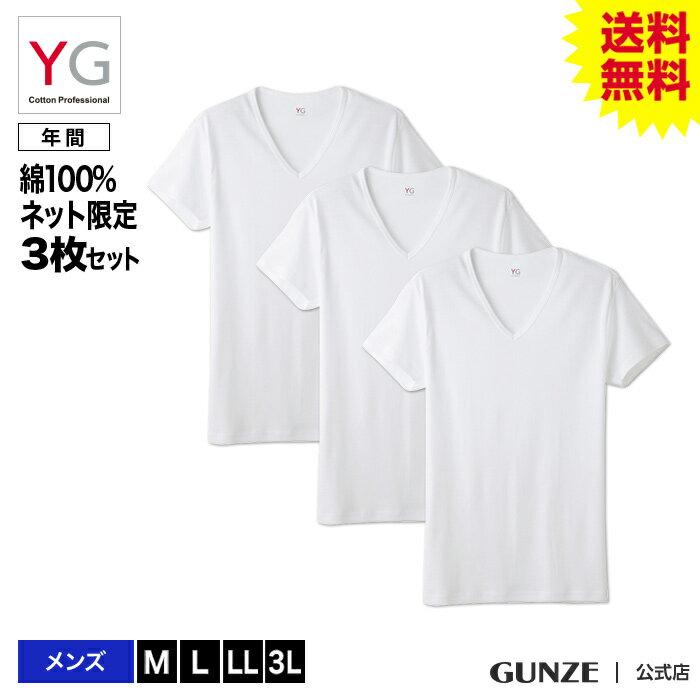 【送料無料】GUNZE(グンゼ)/YG/ネット限定お得セット YG VネックTシャツ3枚セット(V首)(紳士)/SETM081