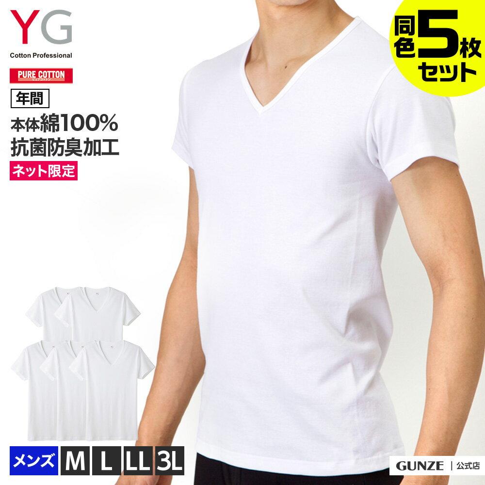 【送料無料】GUNZE(グンゼ)/YG/ネット限定お得セット YG VネックTシャツ5枚セット(V首)(紳士)/SETM082
