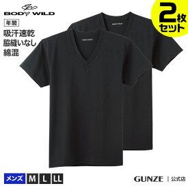 セール SALE アウトレット 2枚組 GUNZE グンゼ BODY WILD ボディワイルド Vネック Tシャツ 2P メンズ BW51152 M〜LL ST01M 綿混 2P インナー V首 セット Tシャツ 汗 吸汗 速乾 年間