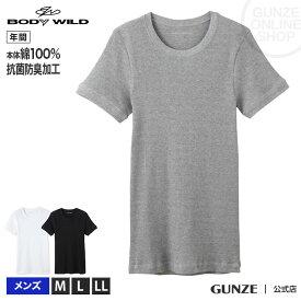グンゼ 綿 100 インナー メンズ BODY WILD 綿100 肌着 ボディワイルド GUNZE BodyWild 男性 下着 ボディー ワイルド/クルーネックTシャツ(丸首)(紳士)/年間シャツ/BWJ413J